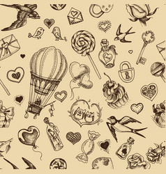 Sketch pattern romance happy vector