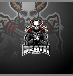 skull gunners esport mascot logo vector image