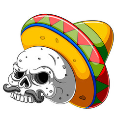 skull head cartoon with sombrero vector image