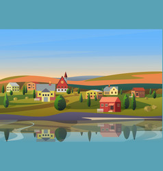 Small town landscape with houses on shore vector