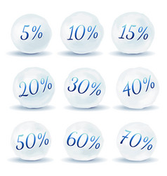 snowball icons with discount isolated on white vector image