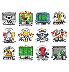 Soccer professional sport league fan club icons vector