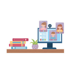 Stay at home books and computer studying plant on vector