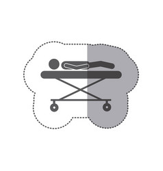 Sticker monochrome pictogram patient in stretcher vector