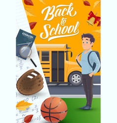 student with backpack school supplies near bus vector image