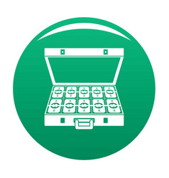 suitcase money icon green vector image