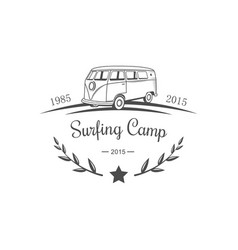 surfing camp logotype vector image