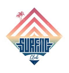 surfing club - vintage label california west vector image