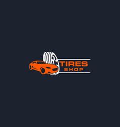 Tires shop logo design template silhouette sport vector