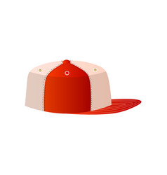 trendy white and red baseball cap close up side vector image