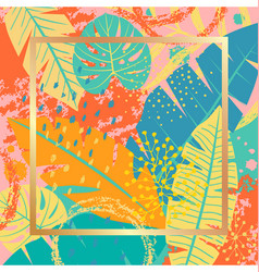 Tropical background with colorful leaves and vector