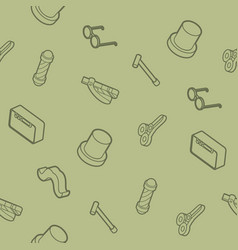 vintage stuff outline isometric pattern vector image
