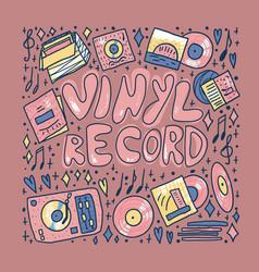 vinyl record concept color text template vector image