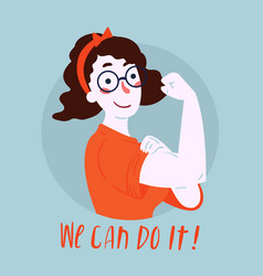 We can do it poster woman rights empowerment vector