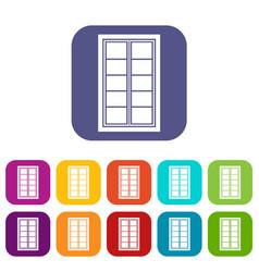 wooden latticed window icons set flat vector image