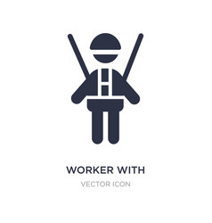 Worker with harness icon on white background vector