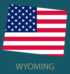 Wyoming state of america with map flag print on vector