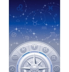 Zodiac wheel night sky vector