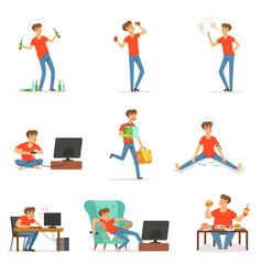 bad habits set alcoholism drug addiction vector image vector image