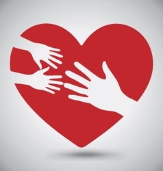 Hand of Adult and Kid on Red Heart vector image