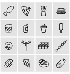 line fastfood icon set vector image vector image