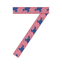 Number 7 made of USA flags on white background vector image