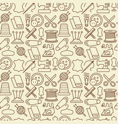 seamless pattern with sewing equipment vector image vector image