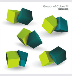 set of blue and green 3d cubes structure over vector image vector image