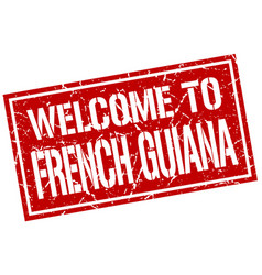 welcome to french guiana stamp vector image vector image
