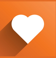 white heart long shadow icon on orange background vector image