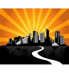 city with sunshine ray vector image