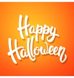 Halloween greeting card with white brush lettering vector image