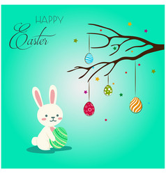 Happy easter bunny hanging eggs green background v vector