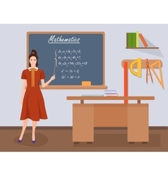 School Mathematics female teacher in audience vector image