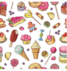 seamless pattern of candies ice cream vector image