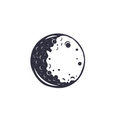 vintage hand drawn moon symbol silhouette vector image