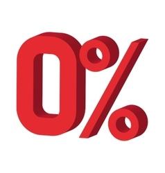 Zero percent icon cartoon style vector image