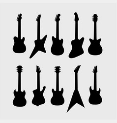 black silhouette of electric guitars vector image vector image