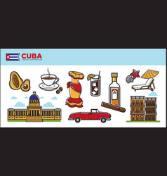 cuba travel destination promotional poster with vector image vector image