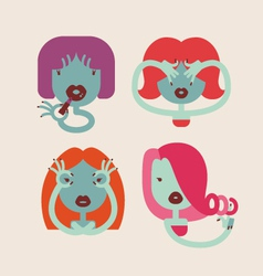 cute monster girls vector image vector image