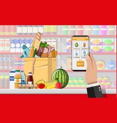 hand holding smartphone with shopping app vector image