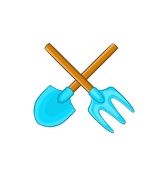 Shovel and pitchfork icon cartoon style vector image