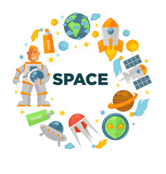 space voyage promotional emblem in shape of circle vector image vector image