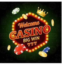 welcome casino concept light bulbs vintage neon vector image vector image