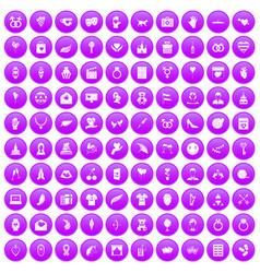 100 heart icons set purple vector