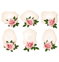 Collection of retro greeting cards with pink roses vector image vector image
