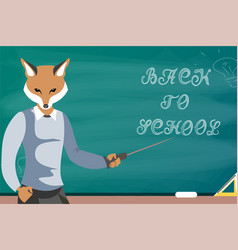 fox teacher children education school vector image
