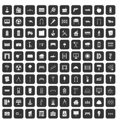 100 architecture icons set black vector