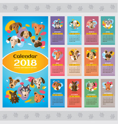 2018 year calendar with stylized dogs vector
