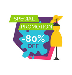 80 off special promotion logo with dummy in dress vector